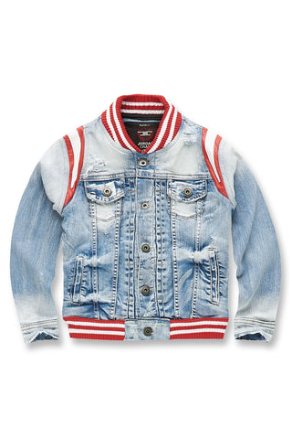 Kids Barcelona Denim Varsity Jacket (Ice Blue)
