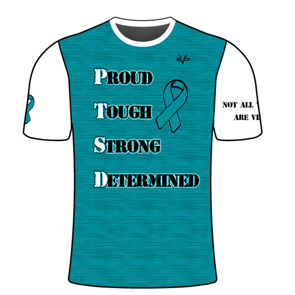 YOUTH EVO PTSD AWARENESS SLOGAN SHIRT AQUA