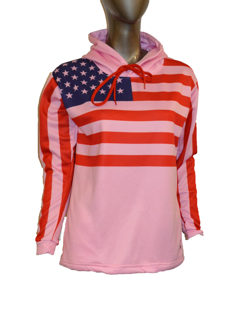 WOMENS FULL DYE SUBLIMATED PINK FLAG PULLOVER HOODIE