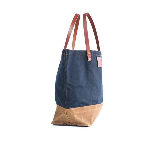 Waxed Canvas and Leather Tote Bag Craft Tote Navy Top