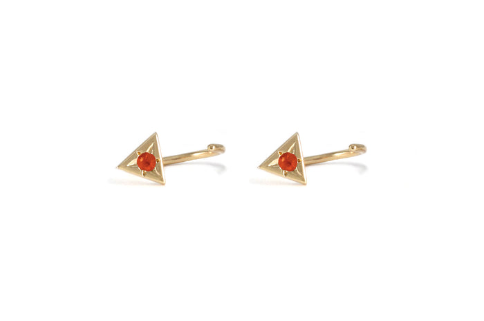 BOUCLE D'OREILLES TRIANGLES OR JAUNE 14K - PIERRES SAPHIRS ORANGES - PAPAGO