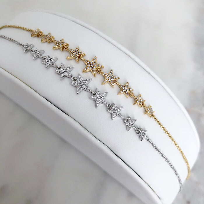 14K DIAMOND STAR CHAIN BRACELET