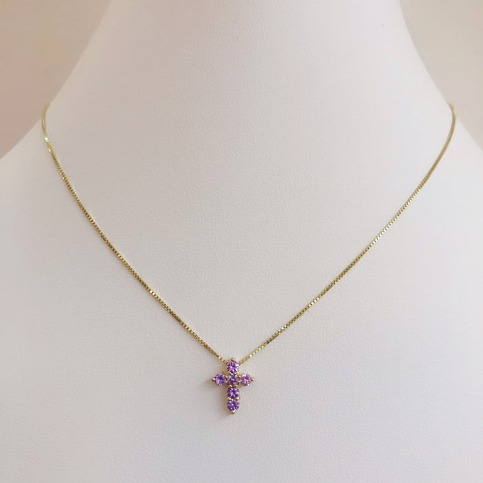 14K GEMSTONE CROSS