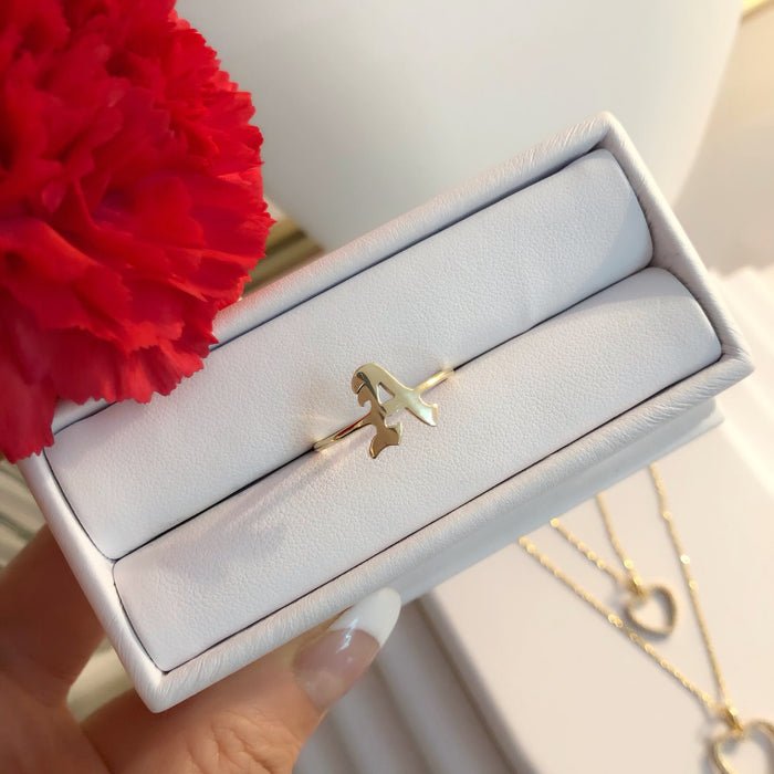 14K CALI LOVE INITIAL RING