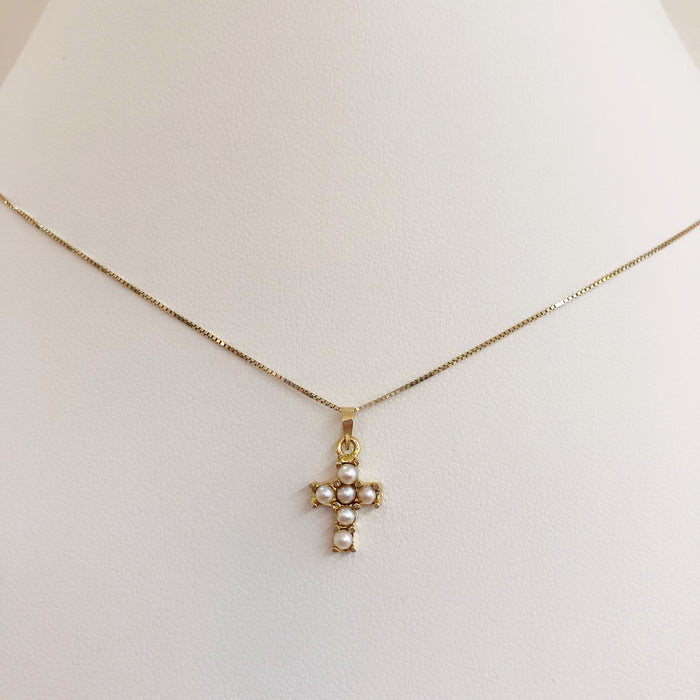 18K PERLA CROSS