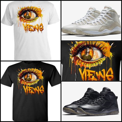 EXCLUSIVE TEE SHIRT to match the AIR JORDAN X 10 OVO BLACKS or WHITES (DRAKE VIEWS)!