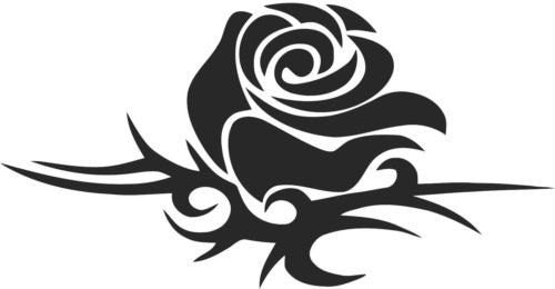 Tribal Rose Sticker Decal with custom text 20 Colors To Choose From.