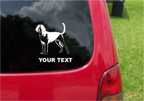 American Foxhound Dog Sticker Decal with custom text 20 Colors To Choose From.