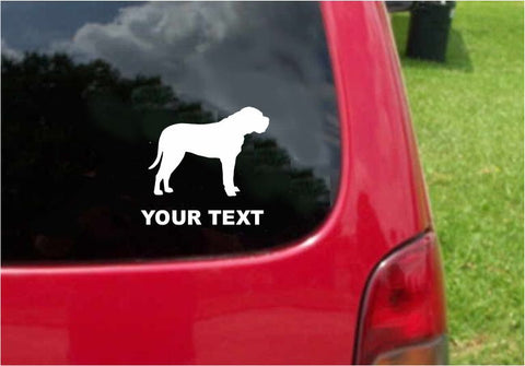 Bullmastiff Dog Sticker Decal with custom text 20 Colors To Choose From.