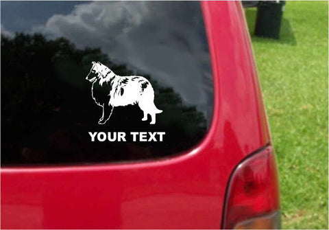 Collie Dog Sticker Decal with custom text 20 Colors To Choose From.