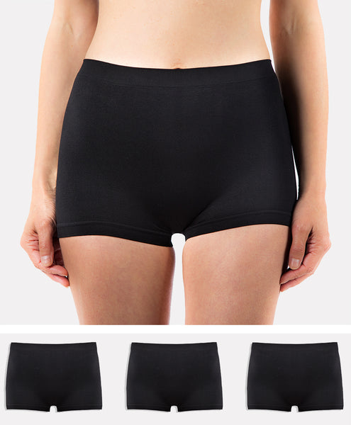 3 Pack Ladies G3 Microfibre High Waist Boy Shorts - Black