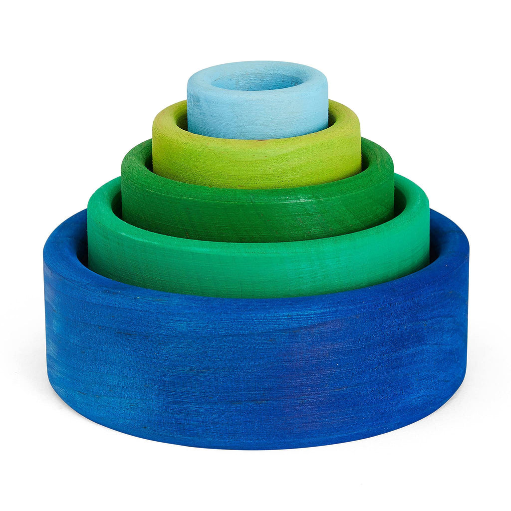 Grimm's Wooden Stacking Bowls: ocean