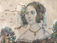 A delightful French hand coloured engraving of a lady c. 1840