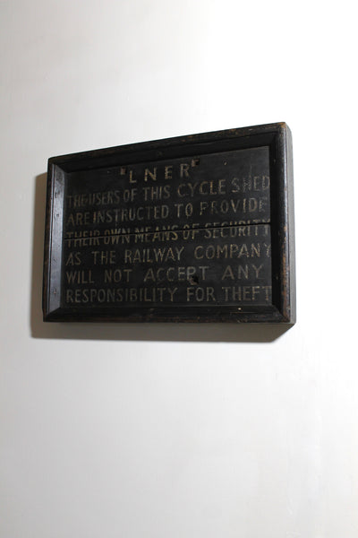 1930s LNER wooden cycle store sign in original paint