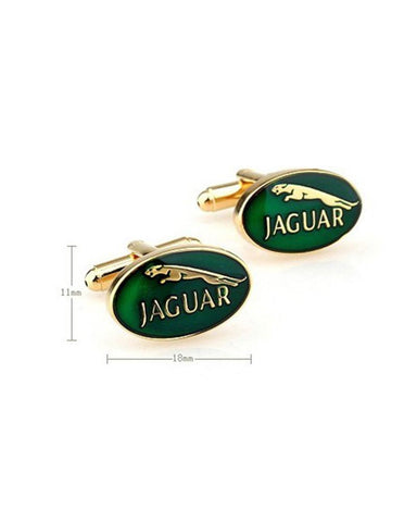 GOLD JAGUAR IN GREEN ENAMEL CUFFLINKS - Just White Shirts