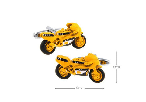 YELLOW SPORTS BIKE CUFFLINKS - Just White Shirts