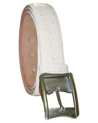 C&C White Ostrich Leather Belt
