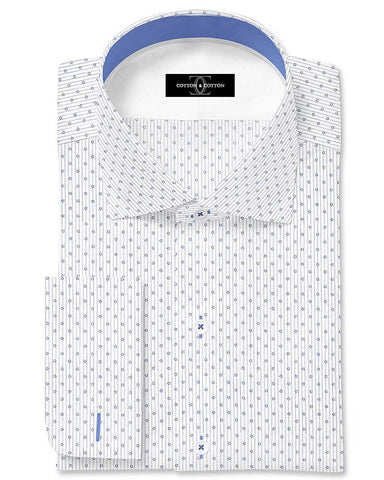 Pure Egyptian Cotton Printed White Shirt F.17.0933