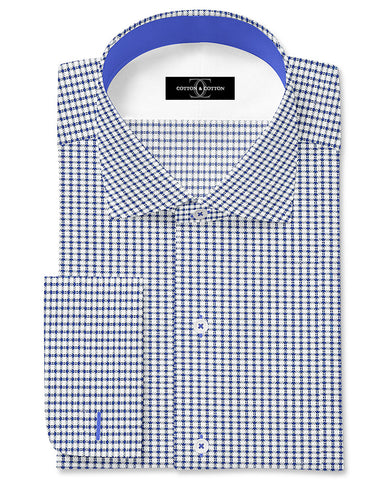 Pure Egyptian Cotton Blue and White Textured Shirt F.17.0986
