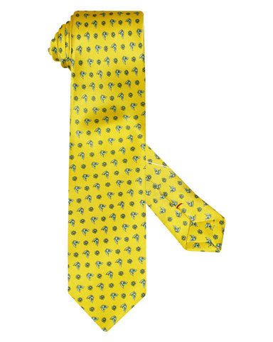 Silk Lemon Yellow Printed Butter Flies Tie