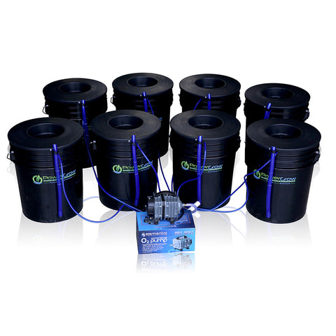 "PowerGrow Deep Water Culture 8 Bucket System - 6"" for Medium/Large Plants"