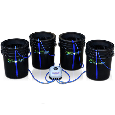 "PowerGrow Deep Water Culture 4 Bucket System - 10"" for Medium/Large Plants"