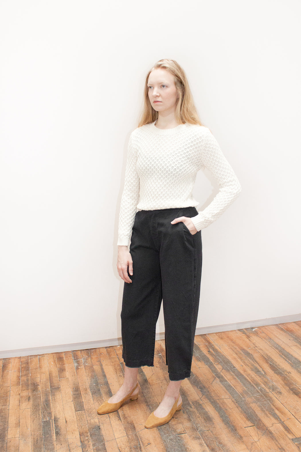 Raw Finish Wide-Leg Trouser // Black