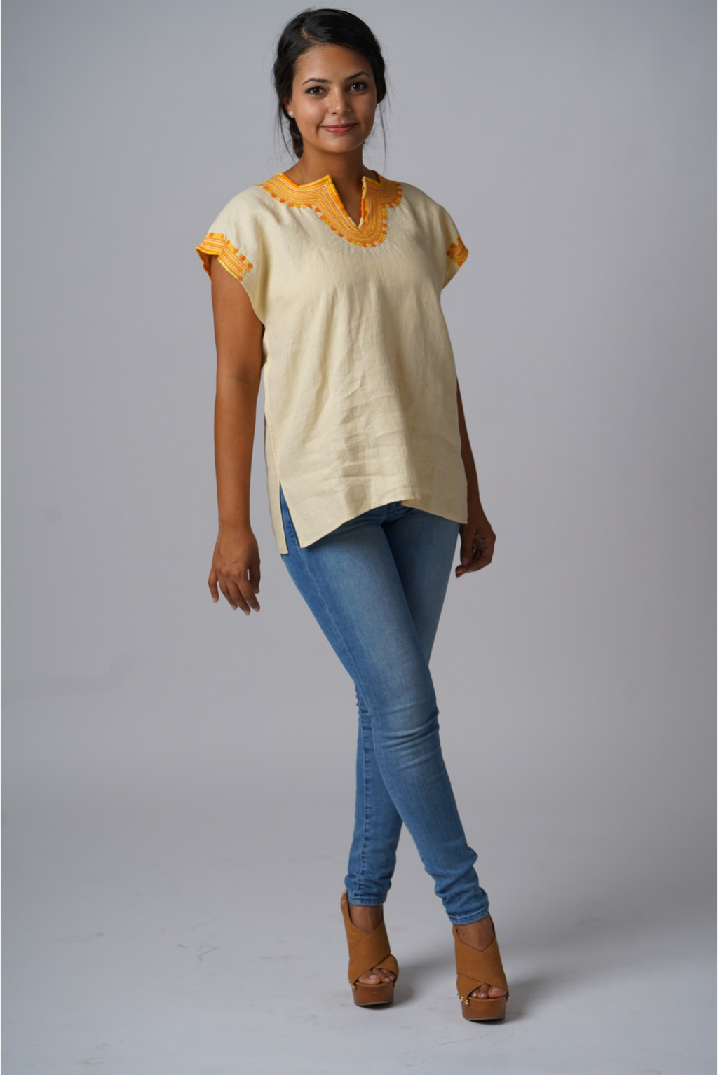 Kahlo Mexican Linen Blouse - Buttercup Yellow
