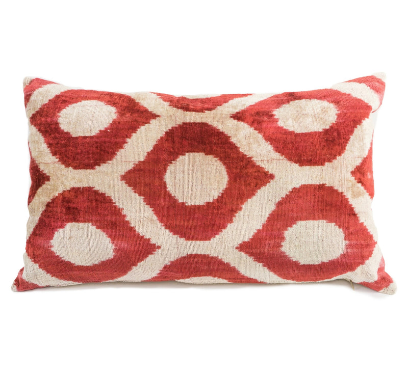 Drummond Silk Velvet Ikat Pillow - Red