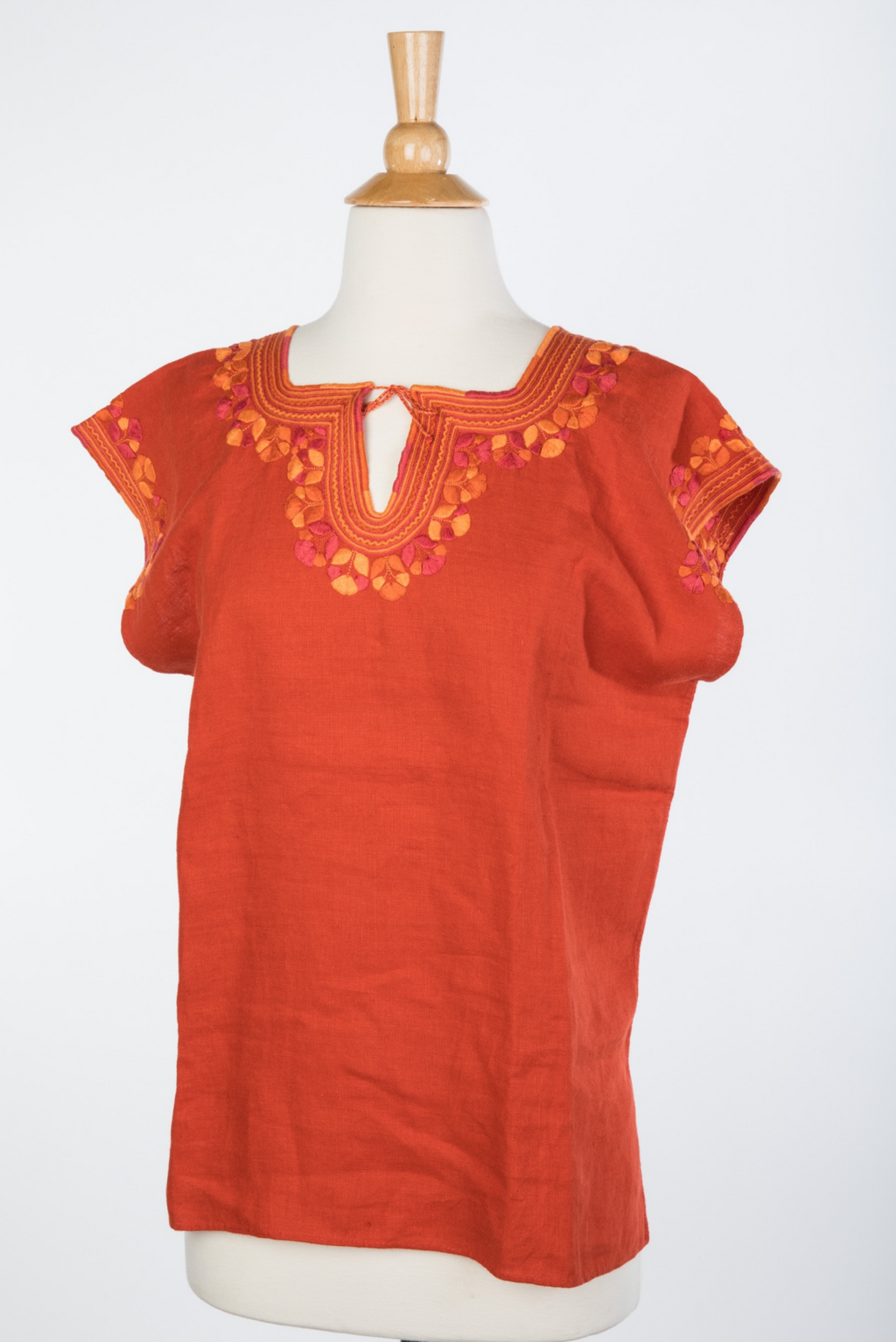 Kahlo Mexican Linen Blouse - Tomato Red