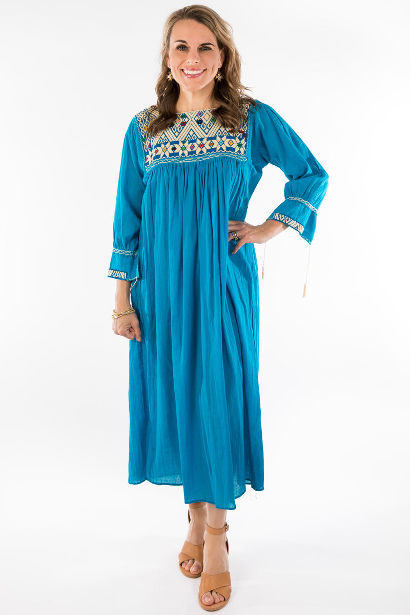 Chiapas Mexican Dress - Blue