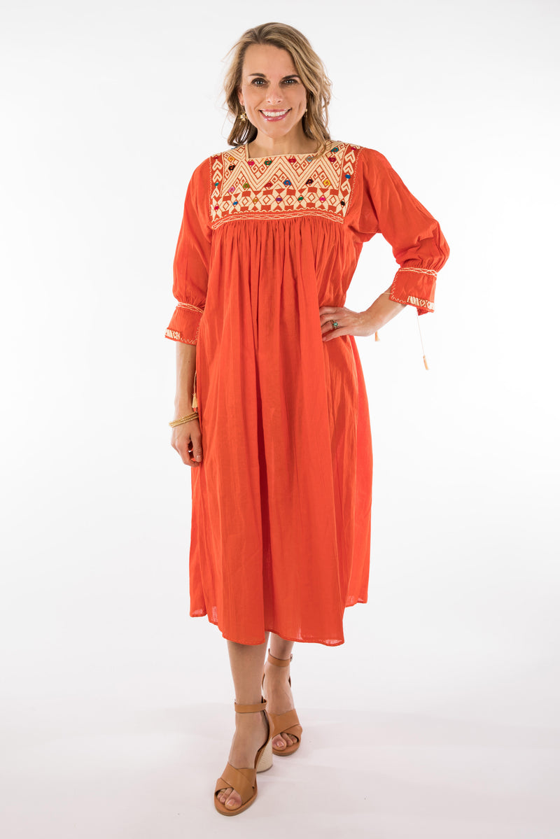 Chiapas Mexican Dress - Orange