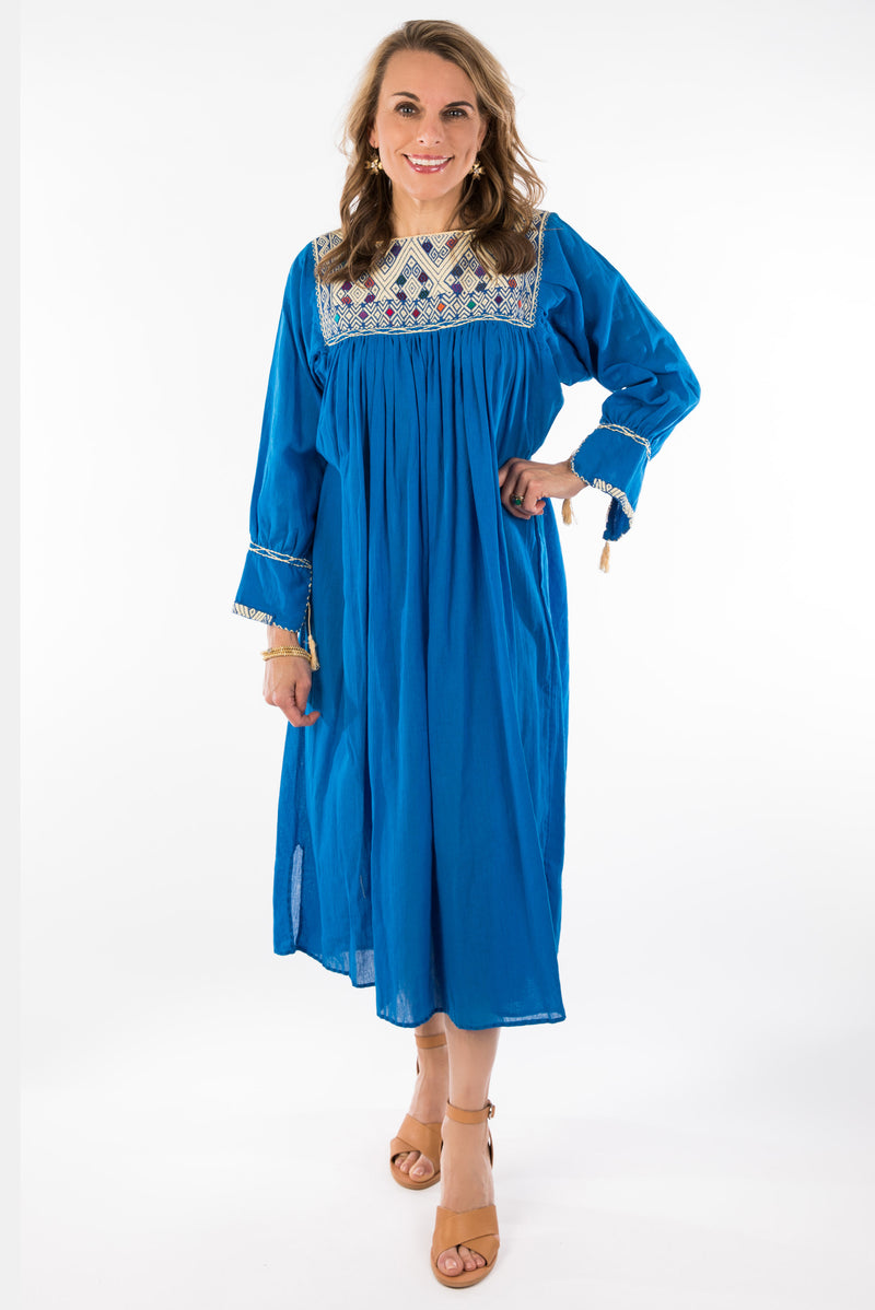 Chiapas Mexican Dress - Royal Blue