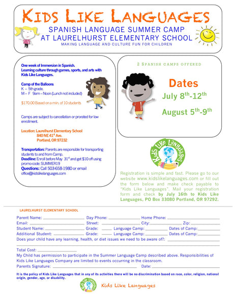 Spanish summer camp at Laurelhurst Elementary School.