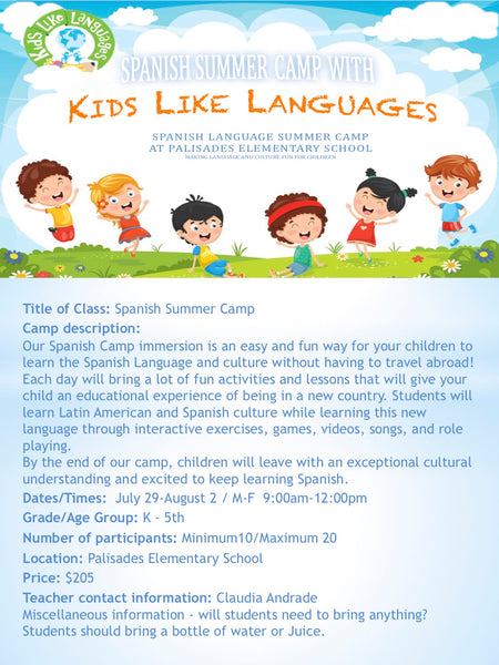 Spanish Summer Camp at Lake Oswego