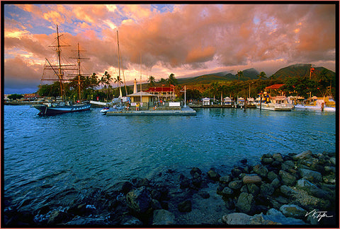 Lahaina Harbor Sunset with Carthaginian Maui-Hawaiipictures.com