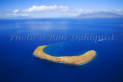 Aerial of Molokini, famous snorkeling location, Maui, Hawaii - Hawaiipictures.com