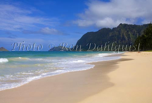 Waimanalo Beach Park, beautiful, empty, sandy beach with cliffs in distance. Oahu, Hawaii Picture - Hawaiipictures.com