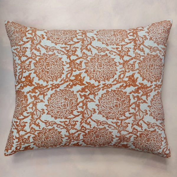 Burnt orange Peony hand block cushion
