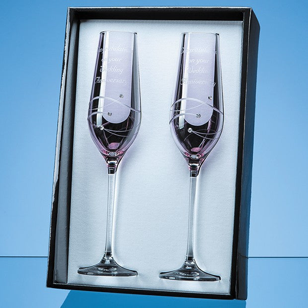 2 Pink Diamante Champagne Flutes - Bracknell Engraving & Trophy Services