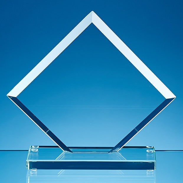 Jade Glass Facet Clipped Square Award