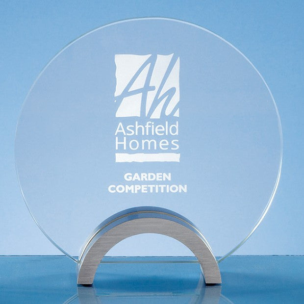 Clear Glass Circle on an Aluminium Base Trophy