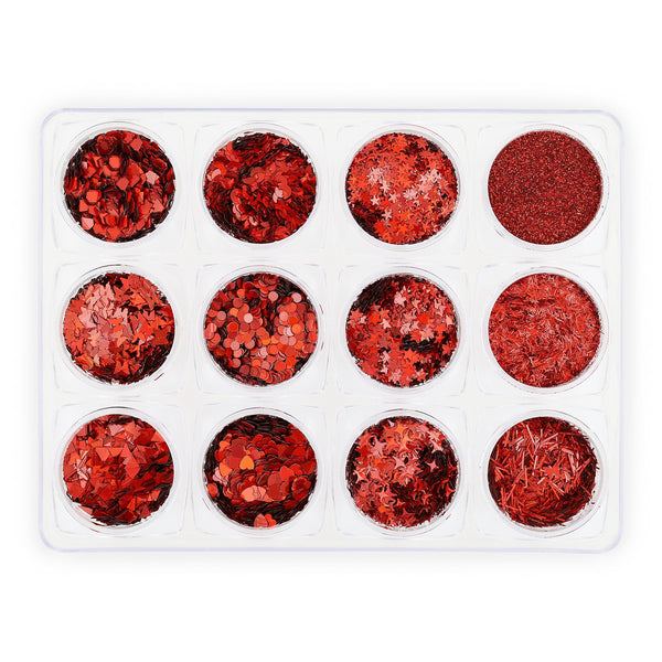 Glitter Set - NGS-008 - Chunky & Fine Red Shapes