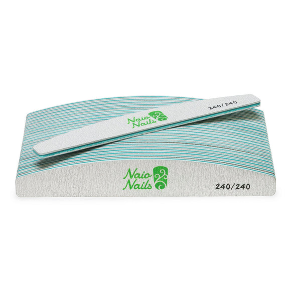 Pack of 25 - Zebra Grey Half Moon 240/240 Grit Nail Files