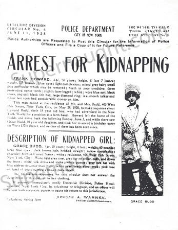 Albert Fish grace budd kidnapping flyer cannibal serial killer