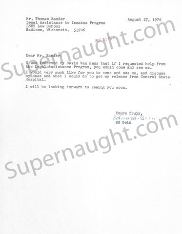 Edward Gein legal assistance letter