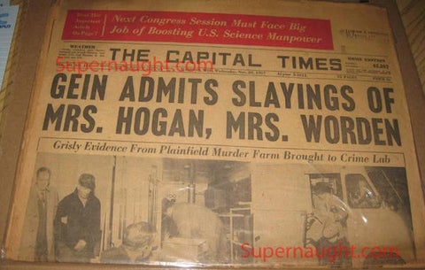 Edward Gein Capital Times Newspaper November 20 1957