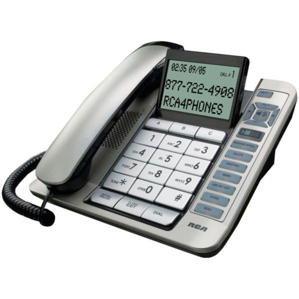 RCA 1114-1BSGA Corded Desktop Phone with Caller ID & Digital Answering System (Silver)