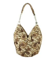 New Arrival Floral Print Ladies Beading Hobo Brown Fashion Hangbag