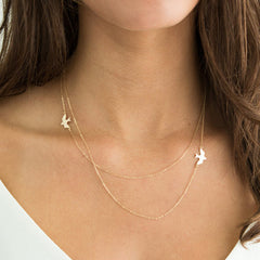 Layered Simple Gold Plated Birds Necklace Clavicle Chains Charm Womens Fashion Jewelry   XL106